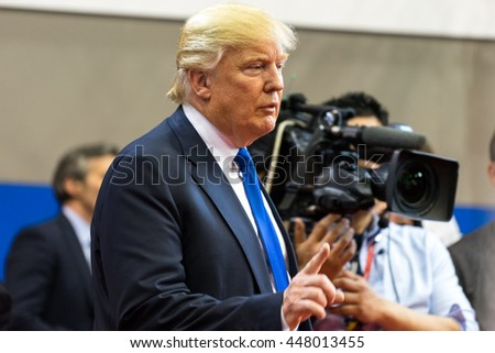 HOUSTON - FEBRUARY 25, 2016: Donald Trump speaks to the media after the Republican National Committee debate. - stock photo