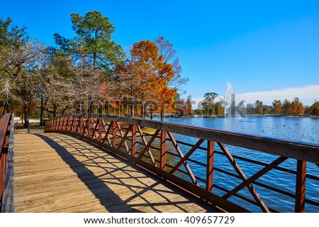 Houston Hermann park conservancy Mcgovern lake at autumn in Texas - stock photo