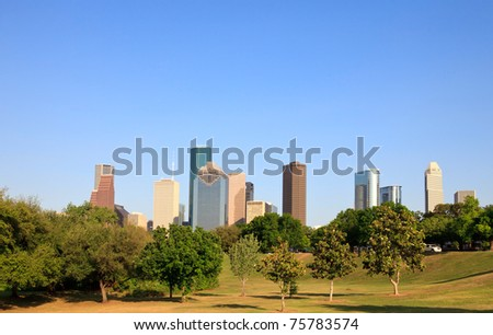 Houston Park and Skyline - stock photo