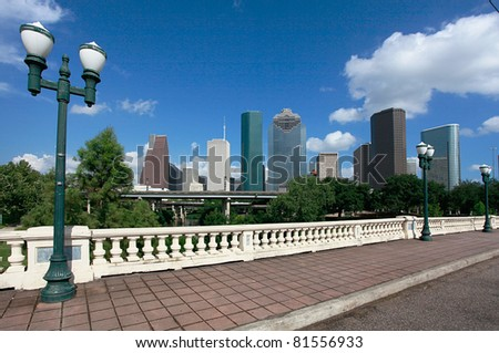 Houston skyline as seen from the Sabine Street Bridge - stock photo