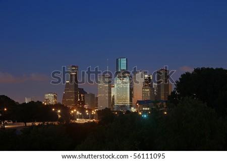 Houston Skyline at Night - stock photo