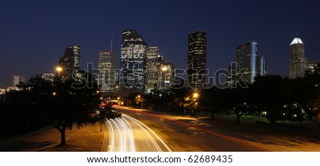 Houston Skyline at Night - stock photo