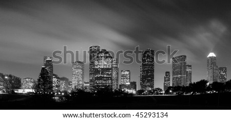 Houston Skyline at night in Black and White - stock photo