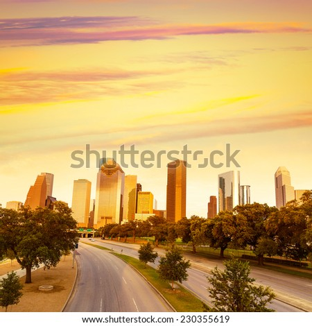 Houston skyline at sunset from Allen Pkwy Texas USA US America - stock photo