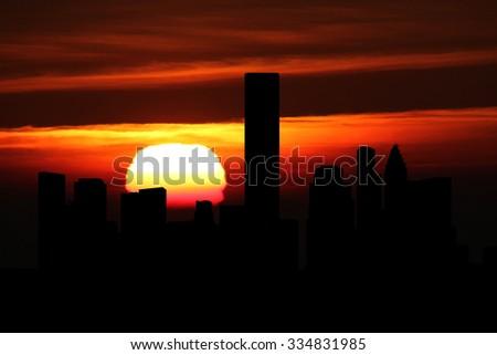 Houston skyline at sunset illustration - stock photo