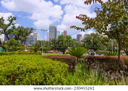Houston skyline cityscape in Texas US USA - stock photo