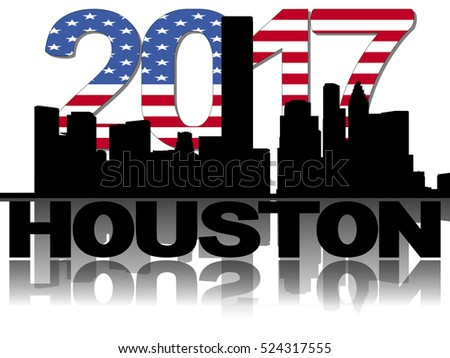 Houston skyline 2017 flag text illustration