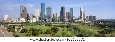 Houston Skyline, Memorial Park, Texas - stock photo