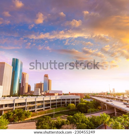 Houston Skyline North view aerial sunset in Texas US USA - stock photo