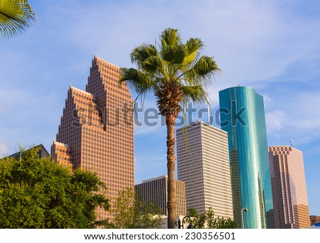 Houston Skyline North view palm trees in Texas US USA - stock photo