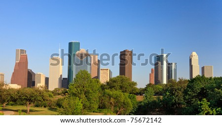 Houston Skyline with Green Park in foreground - stock photo
