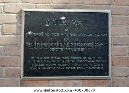 HOUSTON, TEXAS - APRIL 06, 2016: A Water Wall fountain board in Houston, Texas - stock photo