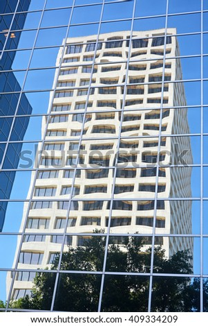 HOUSTON, TEXAS - APRIL 06, 2016: Skyscrapers reflection at Houston ,Texas - stock photo