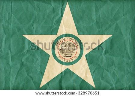Houston ,Texas flag pattern on paper texture,retro vintage style - stock photo