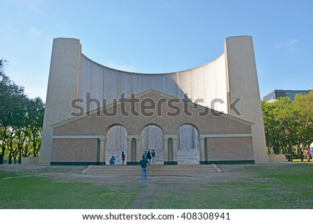 HOUSTON, TEXAS - MARCH 26, 2013: A Water Wall fountain in Houston, Texas - stock photo