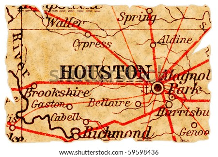 Houston, Texas on an old torn map from 1949, isolated. Part of the old map series. - stock photo