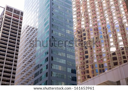 Houston Texas urban city with modern mirror skyscrapers crop detail - stock photo