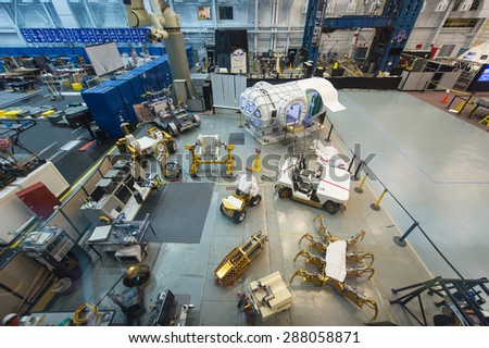 HOUSTON, TX - MAR 22: Space shuttle factory at the Space Museum on March 22, 2015 in Houston, USA. It was the old factory where NASA built the shuttle space. - stock photo