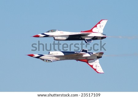 HOUSTON, TX - OCTOBER 25: USAF Thunderbirds perform at Wings over Houston Air Show on October 25, 2008.