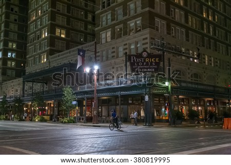 Houston, TX/USA - circa July 2013: Streets of Downtown Houston, Texas by night - stock photo