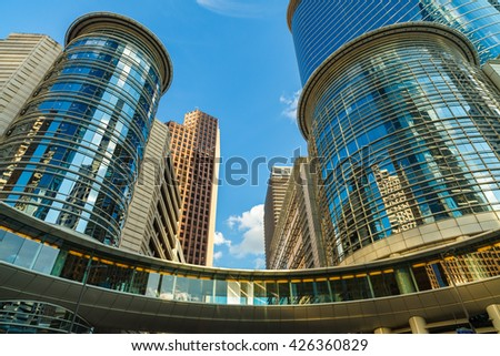 Houston, TX USA - October 19, 2010: Beautiful round office building architecture in the downtown Houston district. - stock photo