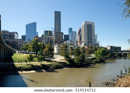 HOUSTON, USA - NOVEMBER 19, 2016: Historic Center Houston from Buffalo Bayou River. Texas, United States
