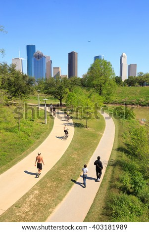 Houston, USA on 4 April 2016: View of downtown Houston city, Texas in a beautiful sunny day - stock photo