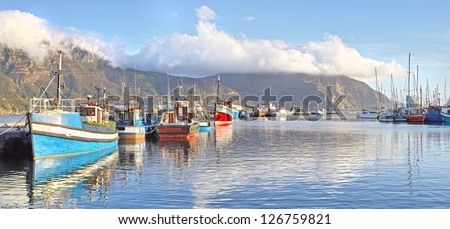 Hout Bay harbor in summertime - close to Cape Town, South Africa - stock photo