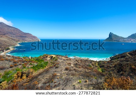 Hout Bay in South Africa. Ocean bay with turquoise water and interesting landscape.