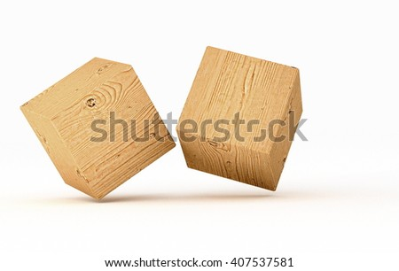 hover cubes - 3D illustration - stock photo