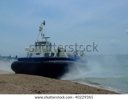 Hovercraft landing on Portsmouth Waterfront