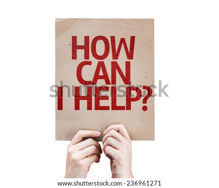 How Can I Help? card isolated on white background - stock photo
