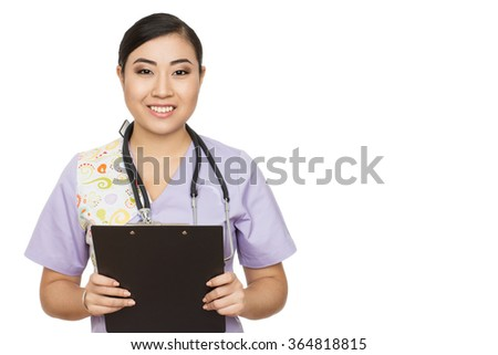 How can I help you? An attractive young doctor smiling happily to the camera isolated on white - stock photo