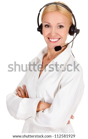 How can I help you? Call center operator against white background. - stock photo