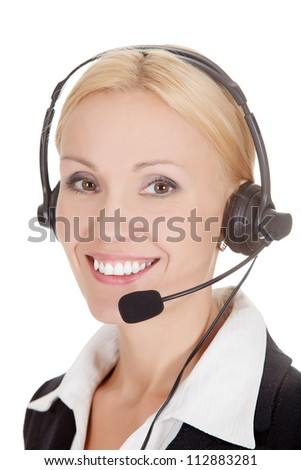 How can I help you? Call center operator against white background - stock photo