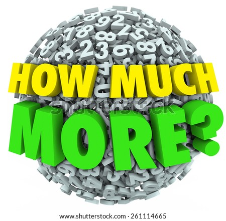 How Much More words asking your wants, needs, desires and cravings for additional quantities of objects such as food, or income like money, sales or income - stock photo
