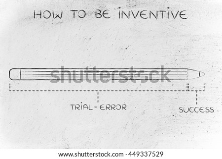 how to be inventive: diagram with pencil metaphor, long trial error phase before reaching success - stock photo