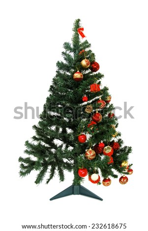 How to decorate a Christmas tree - Half empt and half full - Christmas tree isolated on white background - stock photo