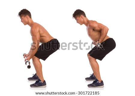 How To Do A Barbell Row. Muscular man showing a barbell row exercise, side view, step by step. Full length studio shot isolated on white. - stock photo
