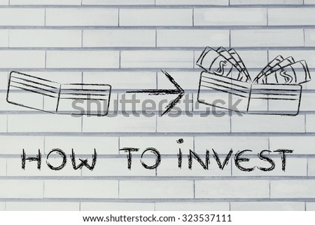 how to invest: illustration with wallet going from empty to full of dollars - stock photo