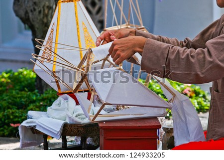 How to make a lamp of northern Thailand. - stock photo