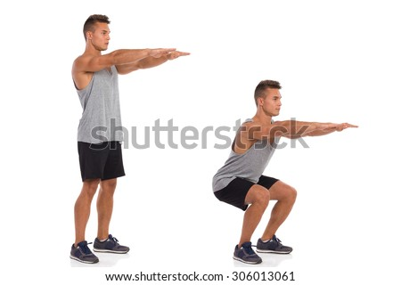 How To Make a Squat. Muscular man showing a squat exercise, side view, step by step.  Full length studio shot isolated on white. - stock photo