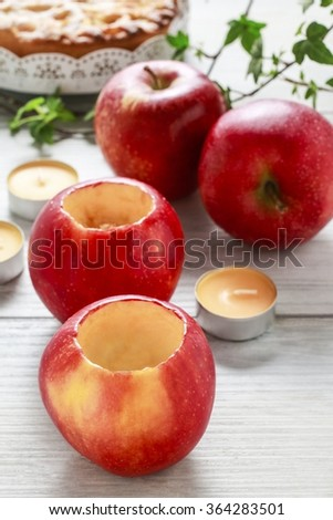 How to make apple candle holder - step by step, tutorial - stock photo