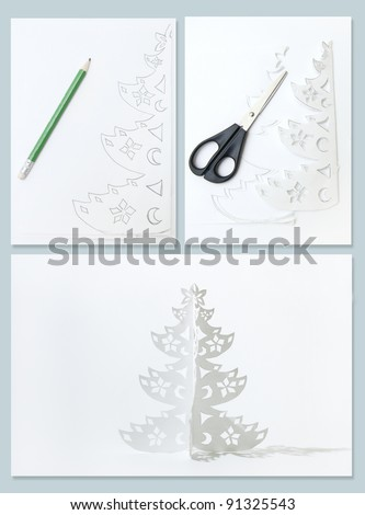 How to Make Christmas tree from office paper. Collage from three photos. - stock photo