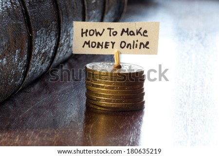 How to make money online concept - stock photo