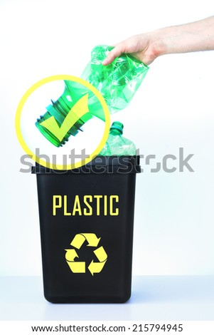 How to properly dispose of plastic bottles. - stock photo