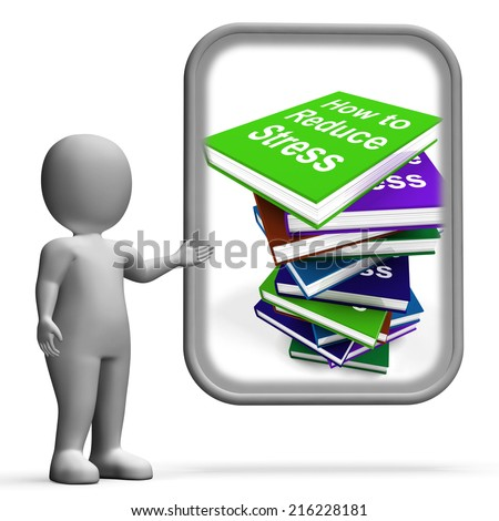 How To Reduce Stress Book Stack Displaying Lower Tension - stock photo