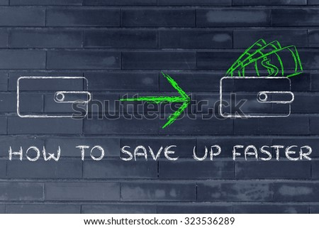how to save up faster: closed wallet going from empty to full - stock photo