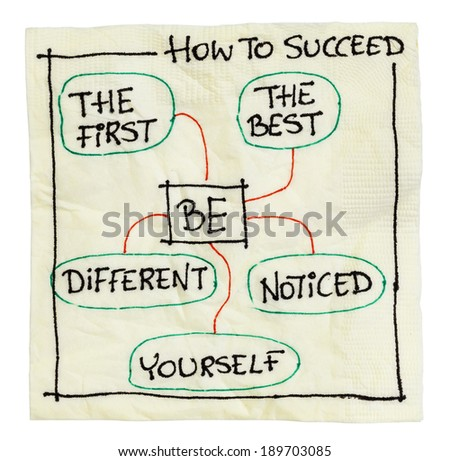 how to succeed tips on an isolated cocktail napkin - be the first, the best, different, yourself, noticed