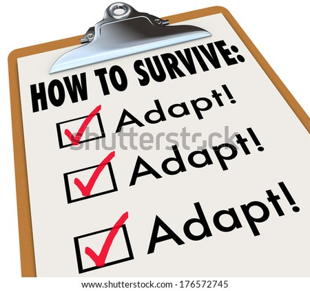 How to Survive Adapt Clipboard Checklist Advice - stock photo